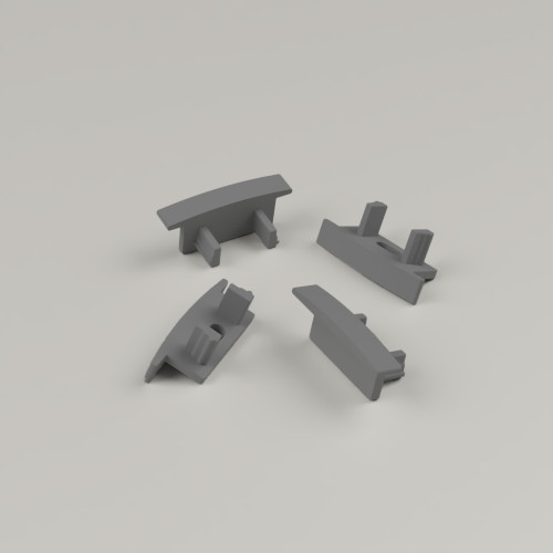 Set of 4 End Caps for Standard Channel with Trim 23x8mm, Dark Grey