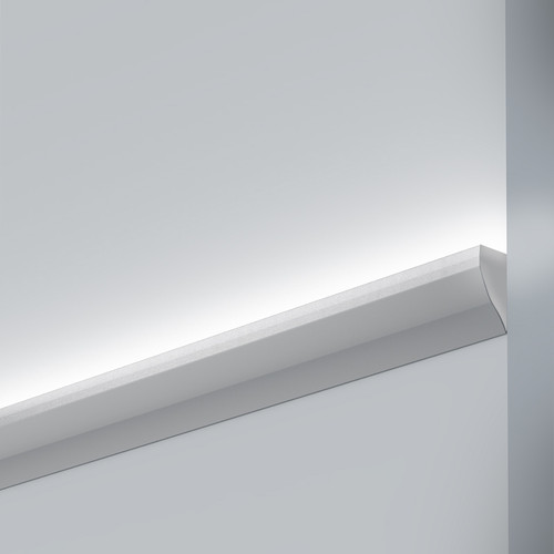 Wall Mounted Coving Aluminium Profile. 43x17mm, Silver, 2 Metre Length