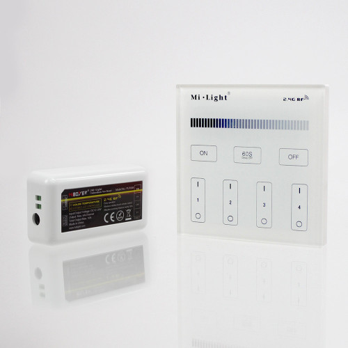 Wall Mounted 4 Zone Mains Powered Controller and Receiver Bundle For 12/24V Single Colour LED Tapes