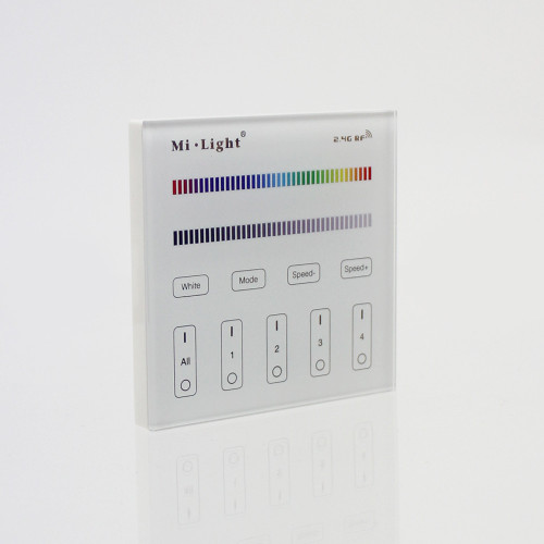 Wall Mounted 4 Zone Mains Powered Controller and Receiver Bundle For 12/24V RGB LED Tapes