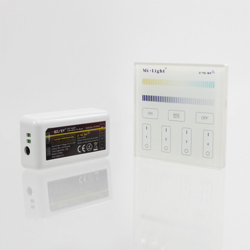 Wall Mounted 4 Zone Mains Powered Controller and Receiver Bundle For 12/24V CCT LED Tapes