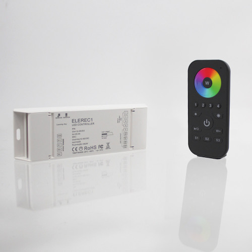 Elencho 4 Zone Hand Held Controller and Receiever Bundle for 12/24v RGB and RGBW LED Tapes