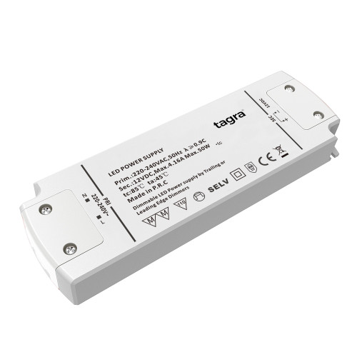 Tagra® Professional 12V TRIAC Dimmable Constant Voltage LED Driver 50W