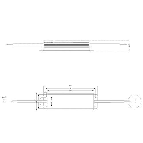 Tagra® Professional IP67 24V Constant Voltage LED Driver 150W