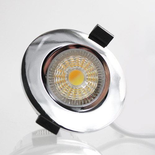 Integrated LED Tiltable Colour Changeable Fire Rated Downlight, IP65, Chrome Finish