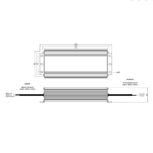 Professional IP67 24V Constant Voltage LED Driver 200W