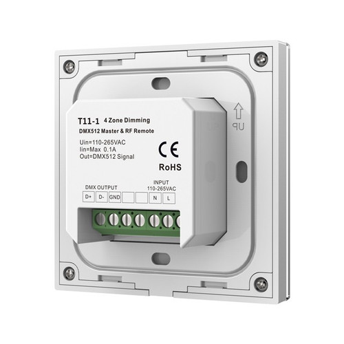 Mains Powered 4 Zone Precision Touch 2.4GHz Wireless DMX Single Colour Wall Plate, White