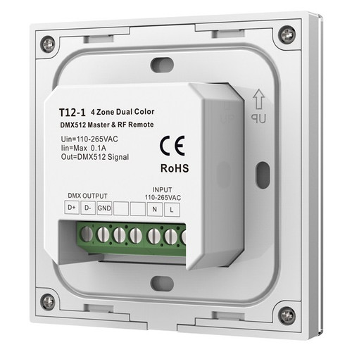 Mains Powered 4 Zone Precision Touch 2.4GHz Wireless DMX CCT Wall Plate, White
