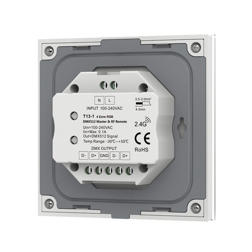 Mains Powered 4 Zone Precision Touch 2.4GHz Wireless DMX RGB Wall Plate, White
