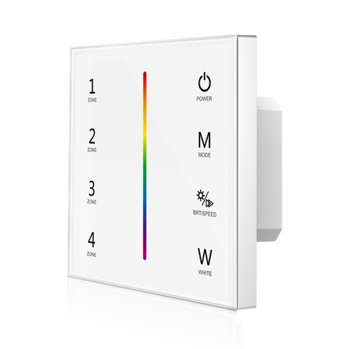 Mains Powered 4 Zone Precision Touch 2.4GHz Wireless DMX RGBW Wall Plate, White