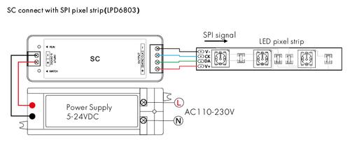 Digital SPI Digitally Addressable Pixel Tape Controller Kit