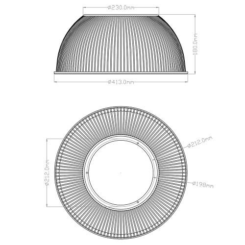 70° PC High Bay Reflector - Clear
