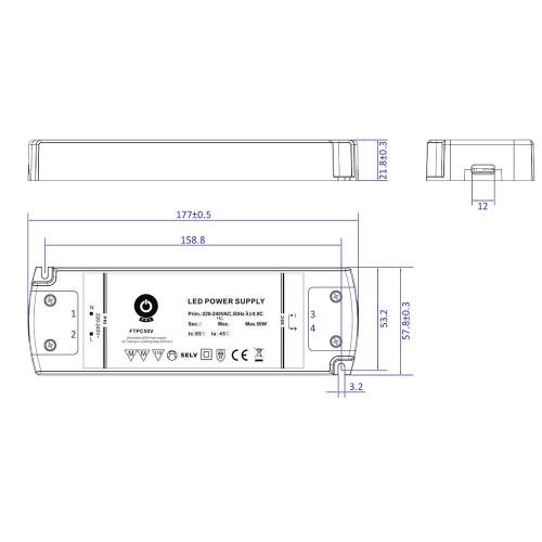 24V Slim TRIAC Dimmable LED Driver, 50W 2.08A
