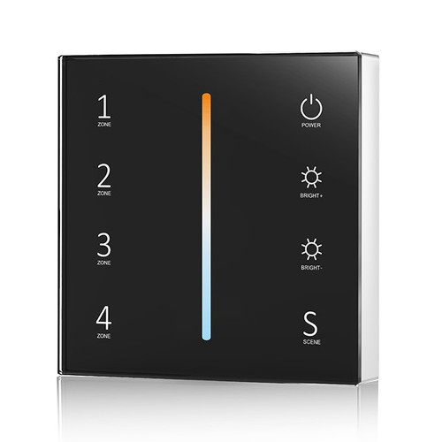 Battery Powered CCT Wall Plate Black + 5-in-1 Receiver Bundle - 4 Zone