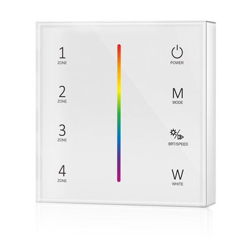 Battery Powered RGB/RGBW Wall Plate White + 5-in-1 Receiver Bundle - 4 Zone