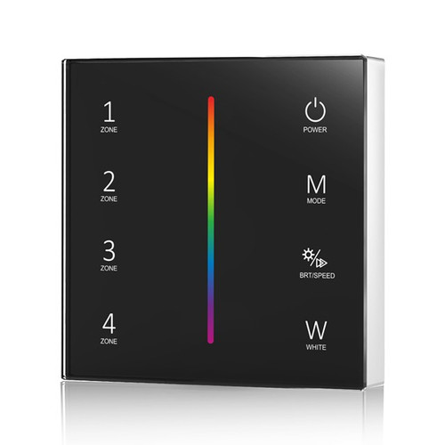 Battery Powered RGB/RGBW Wall Plate Black + 5-in-1 Receiver Bundle - 4 Zone