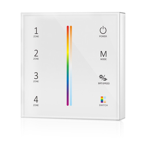 Battery Powered RGB+CCT Wall Plate White + 5-in-1 Receiver Bundle - 4 Zone