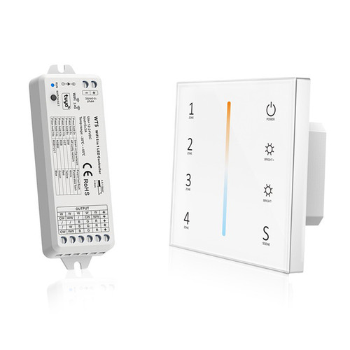 Mains Powered CCT Wall Plate + 5-in-1 Receiver Bundle - 4 Zone