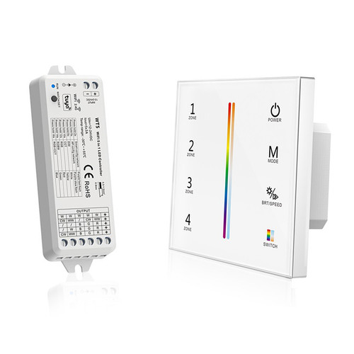 Mains Powered RGB+CCT Wall Plate + 5-in-1 Receiver Bundle - 4 Zone