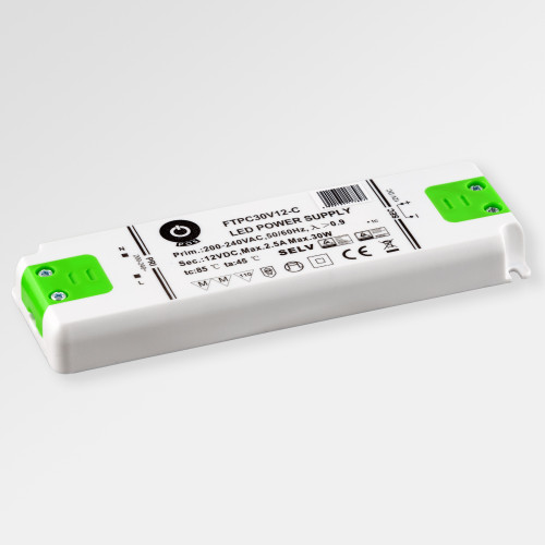 Professional IP20 Power Supply for 12V LED Strip Lights, 30W, 2.5A