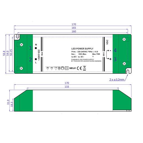 24V Slim TRIAC Dimmable LED Driver, 75W 3.125A