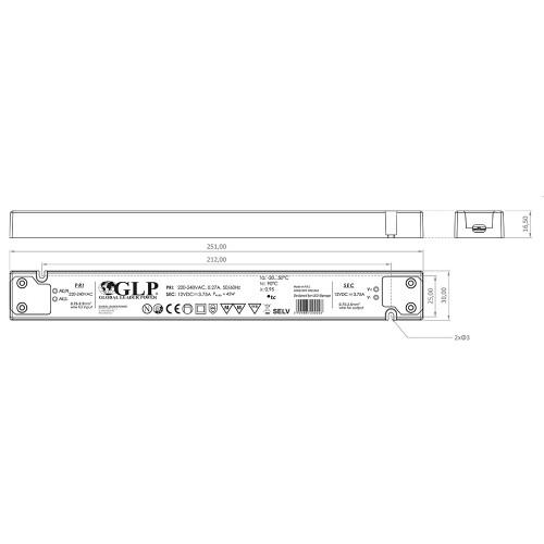 Super Slimline Linear Professional 12V Constant Voltage LED Driver 45W