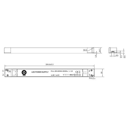 Super Slimline Linear Professional 12V Constant Voltage LED Driver 60W