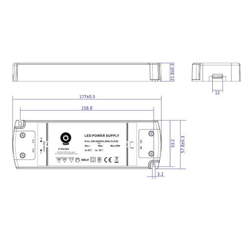 12V Slim TRIAC Dimmable LED Driver, 50W 4.16A