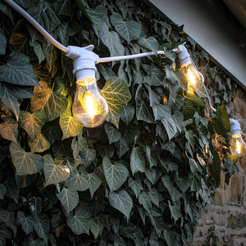 5 Metre, 10 Clear Filament GLS Lamp Connectable White Festoon String, 500mm Spacing with 10 bulbs, B22, Warm White