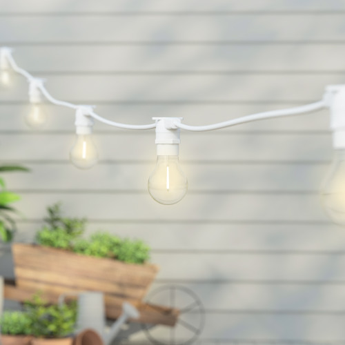 5 Metre, 10 Clear Filament GLS Lamp Connectable White Festoon String, 500mm Spacing with 10 bulbs, B22, Warm White2