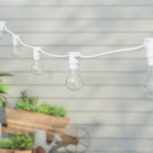 5 Metre, 10 Clear Filament GLS Lamp Connectable White Festoon String, 500mm Spacing with 10 bulbs, B22, Warm White1