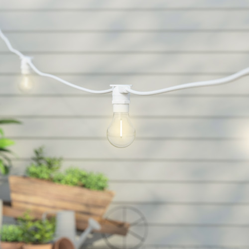 50 Metre, 50 Clear Filament GLS Lamp White Connectable Festoon String, 1000mm Spacing with 50 bulbs, B22, Warm White2