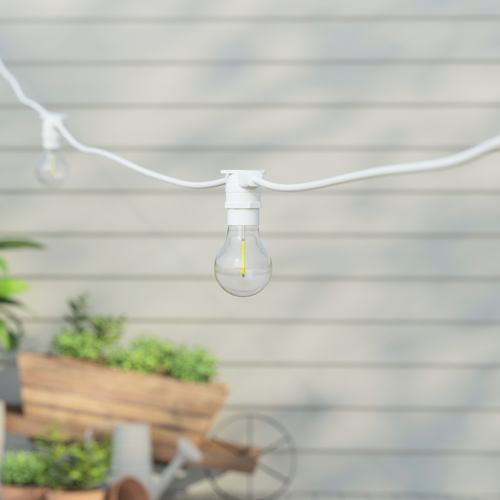 50 Metre, 50 Clear Filament GLS Lamp White Connectable Festoon String, 1000mm Spacing with 50 bulbs, B22, Warm White1