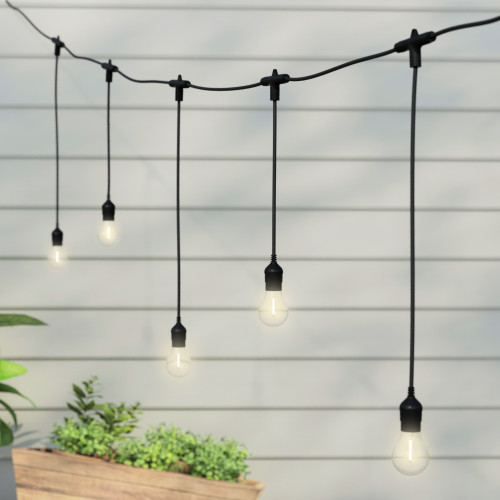 5 Metre Alternate Drop Connectable Pendant Festoon String with 10 GLS Clear Filament Warm White Lamps and Power Cable2