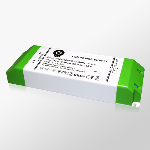 24V Professional TRIAC Dimmable LED Driver, 150W 6.25A