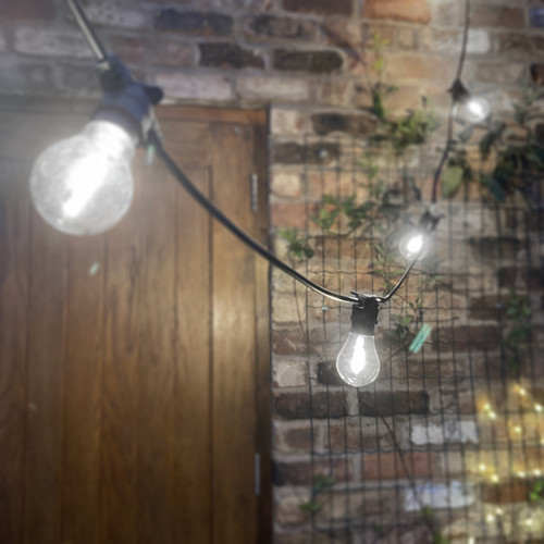 7.5 Metre, 10  Clear Filament GLS Lamp Festoon String, 750mm Spacing with 10 bulbs, B22, Cool White