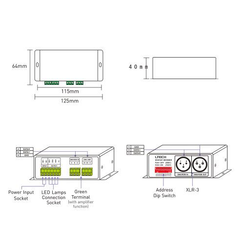 LTECH DMX-PWM CV Decoder, DC12-48V Input ,4A 3CH Output