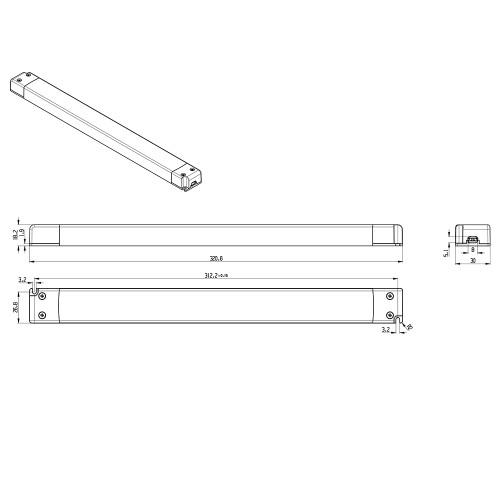 Tagra® Super Slimline Linear Professional 24V Constant Voltage LED Driver 100W