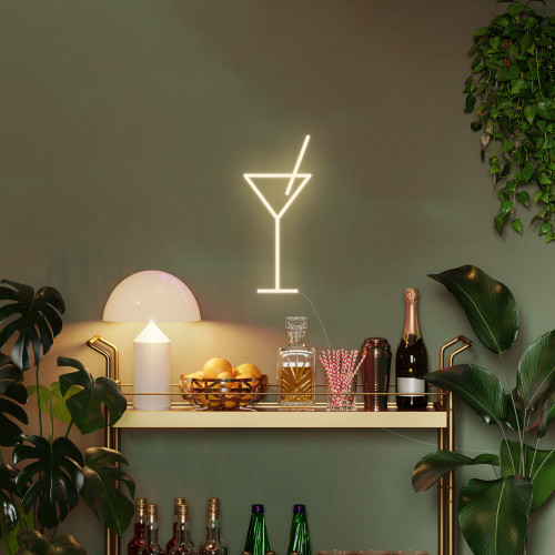 Martini Glass Neon Sign with Stand, Warm White