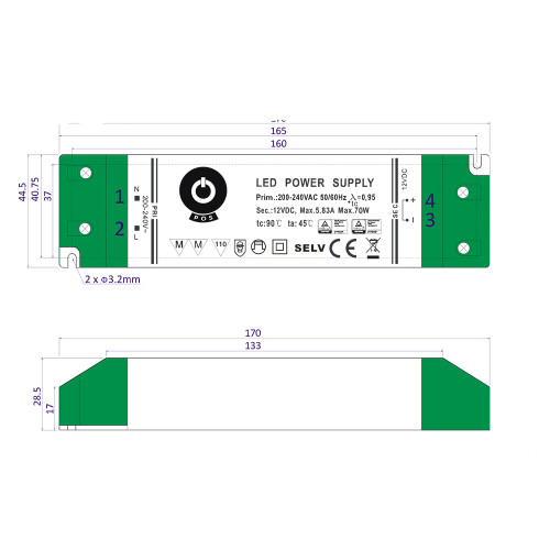 Professional IP20 Power Supply for 12V LED Strip Lights, 75W, 5.83A