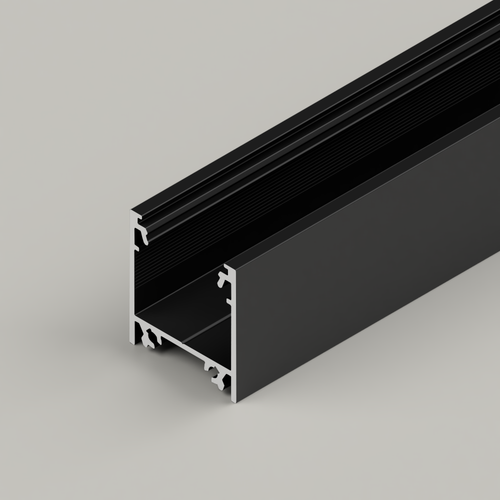 Surface Mounted Connectable Aluminium Channel 23x25mm, Black, 2 Metres