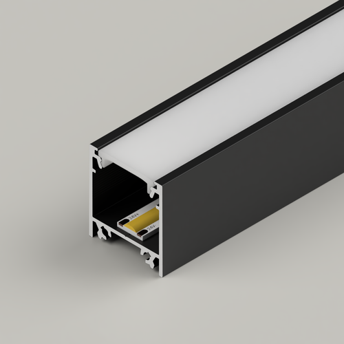 Surface Mounted Connectable Aluminium Channel 23x25mm, Black, 3 Metres