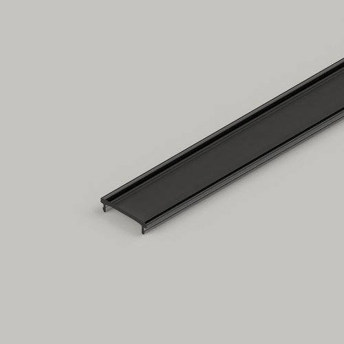 Click in Diffuser for 23x25mm Connectable Aluminium Channel, 2 Metre, Smoked Black
