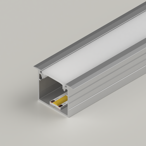 Recessed Connectable Aluminium Channel 23x20mm, Silver, 2 Metres