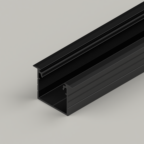 Recessed Connectable Aluminium Channel 23x20mm, Black, 2 Metres