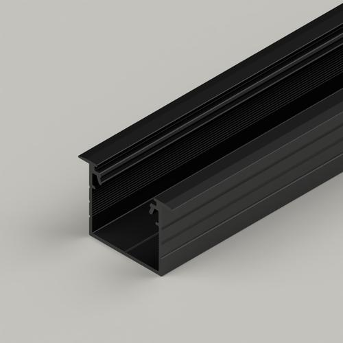 Recessed Connectable Aluminium Channel 23x20mm, Black, 3 Metres