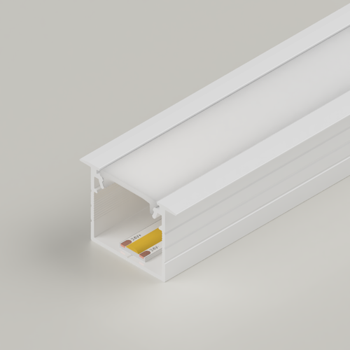 Recessed Connectable Aluminium Channel 23x20mm, White, 3 Metres