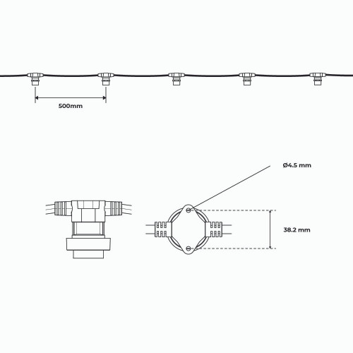 Pro Series Connectable Festoon String 5m, 10 B22 Fixtures, 500mm Spacing, Black Rubber, IP65