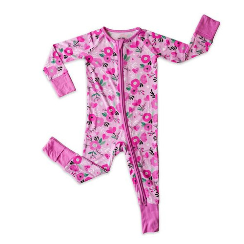 LITTLE SLEEPIES SWEETHEART FLORAL BAMBOO VISCOSE ZIPPY