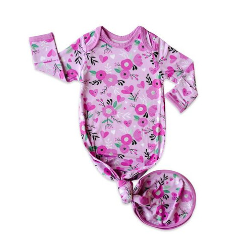 LITTLE SLEEPIES SWEETHEART FLORAL BAMBOO VISCOSE INFANT KNOTTED GOWN
